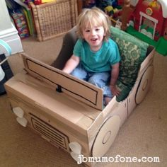 Make toddler very happy How to Make a Cardboard Box Car