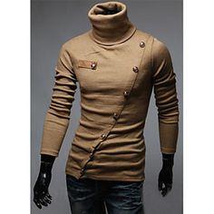 BEN Men's Casual High Neck Long Sleeve Blouse – USD $ 13.99