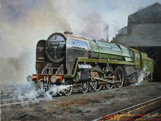 Sold for: £100 Original oil painting on canvas of BR BRITANNIA 70008 BLACK PRINCE on shed at Willesden by Joe Townend GRA. Measures 24in x 18in..18