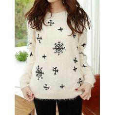 Modelo elegante de cuello redondo del copo de nieve suéter manga larga de Bordado de para Vender - La Tienda En Online IGOGO.ES