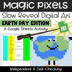 Pixel Magic - Earth Day Edition by Teacher's Clubhouse Preschool Learning Activities, Learning Centers, Early Learning, Teacher Blogs, Google Classroom, Earth Day, Third Grade, Magic, Teaching