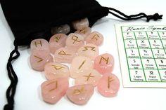 Pink Rose Quartz Gemstone Rune Set w/ FREE Velvety Pouch