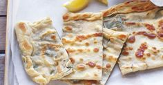 Gozleme recipe. A traditional Turkish pastry with a savoury filling of feta cheese and spinach.