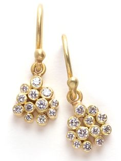 lauriekaiser:    Laurie Kaiser Sprinkles Charm Earrings in white diamonds and 18k yellow gold.