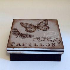 Caixa decorada em mdf - Papillon   Atelier Marcia Campos   Elo7