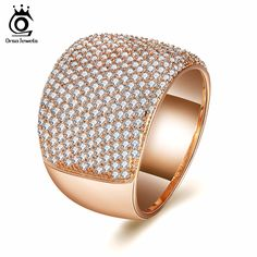ORSA JEWELS Women Wedding Band With AAA Clear Cubic Zircon Prong Setting 16MM Width Fashion Party Female Jewelry OMR09