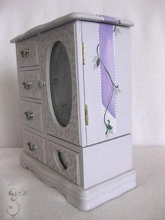 Vintage Rose garden themed hand painted jewelry box in gray | GesineArt - Novelty on ArtFire