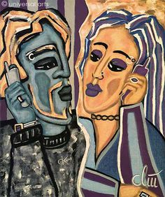 "Jacqueline Ditt - ""Wireless Loveconnection"" 2000  original painting -  http://stores.ebay.de/universal-arts"
