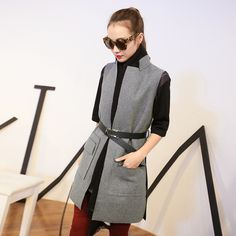 Not sure I can pull this look off with my waistline, but I like how structured the gray vest is. Womens Fashion For Work, Work Fashion, Asian Fashion, Western Outfits, Sleeveless Blazer, Cool Outfits, Casual Outfits, Smart Dress, Power Dressing