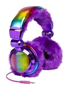 Dye Effect Faux Fur Lined Headphones- Dye Effect Faux Fur Lined Headphones | Girls Tech Accessories . (Cute Tech Accessories)