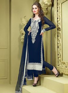 USD 93.57 Blue Faux Georgette Resham Work Party Wear Salwar Kameez   36650