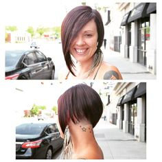 We love our Kendra and this sassy shaved cut by Deona Hurd. A Symmetrical Bob, Shaved Hair, Feather Earrings, Cut And Color, Shaving, Sassy, Salons, Short Hair Styles, Denver