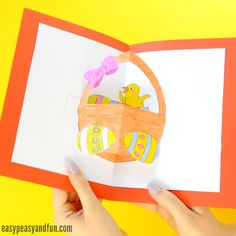 As you really loved our butterfly pop up card template we just had to create this DIY easter pop up card (along with a printable template). This fun chick in a Easter basket pop up card is a fun project to make, and a great one to get the kids interested in making pop up …