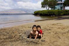 Kids playing at Kalepolepo Beach Park, Kihei, South West Maui.