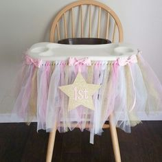 Twinkle Twinkle Little Star Highchair tutu custom order available at www.createinspiredesigns.Etsy.com