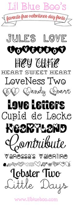 Our favorite FREE Valentine's Day fonts via lilblueboo.com  ~~ {14 free & 1 pay font w/ easy download links}