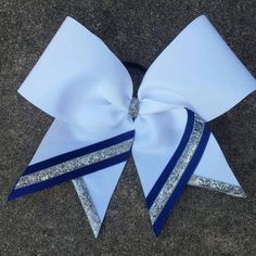 White Cheer Bow w/ Silver & Blue Accents by MyLovelyBows on Etsy
