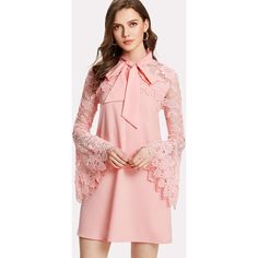 Tie Neck Lace Yoke Bell Sleeve Dress ($2) ❤ liked on Polyvore featuring dresses, pink, lace-sleeve dress, floral dresses, long sleeve dress, long-sleeve lace dress and long-sleeve maxi dress