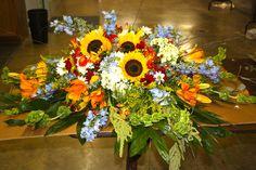 Fall bouquet color scheme. Love the pop of blue!