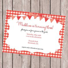 Picnic Birthday Party Customizable Invitation  Birthday Ideas