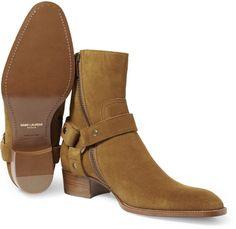 Saint Laurent Suede Boots in Brown for Men - Lyst