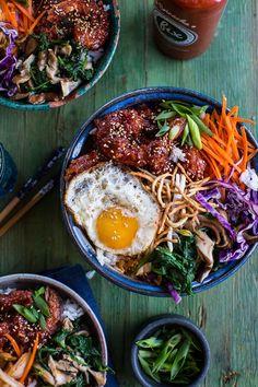 Korean Style Fried Shrimp Rice Bowls with Kimchi and Crunchy Noodles #noodles #kimchi #recipe