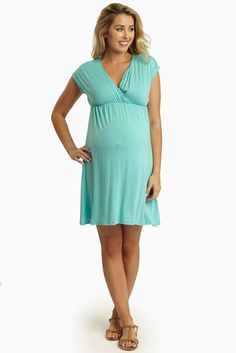 For a comfortable and stylish everyday wear, this basic maternity dress features a flattering cut and draped deep v-neckline, perfect for soon-to-be moms as well as new moms because it allows for nursing after pregnancy.