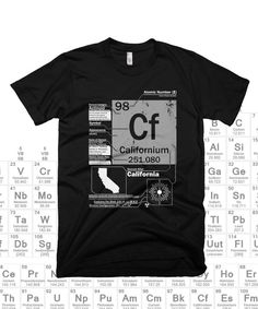 Get your science geek on with a Californium T-Shirt. This californium shirt lists interesting facts and details about the element.  You'll look like the smartest person in the room when wearing this t-shirt and it looks great with a pair of jeans and your favorite sneakers. Check out our other element tees for more ways to add science to your wardrobe!
