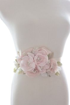 Whimsical crystal flower sash organza by abigailgracebridal Vintage Wedding Flowers, Blush Wedding Flowers, Vintage Wedding Theme, Organza Flowers, Cloth Flowers, Fabric Flowers, Silk Organza, Pearl Flower, Crystal Flower