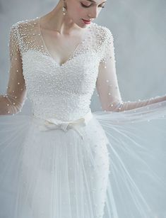 This pearl-embellished wedding dress from Ray & Co. is filled with angelic romance! This pearl-embellished wedding dress from Ray & Co. is filled with angelic romance! Dream Wedding Dresses, Bridal Dresses, Wedding Gowns, Wedding Dress With Pearls, Dresses Dresses, Fashion Dresses, Modest Wedding, Wedding Bride, Diy Wedding