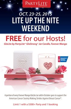 The World's Brightest Candle for FREE! Host a Party during Lite Up the Nite Weekend and enjoy this Host offer. Find a Consultant today at PartyLite.com