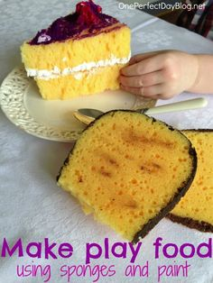 Fun and simple pretend play idea - making play food using sponges and paint. Just buy play food. Face it, give this to your kid and you'll have little bits of sponge everywhere. Pretend Food, Play Food, Pretend Play, Role Play, Easter Crafts For Kids, Diy For Kids, Kid Crafts, Easter Art, Summer Crafts