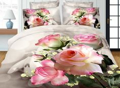 Home Textiles,Rose Peony Pattern Queen Size Bedding Sets Of Duvet Cover Bed Sheet Pillowcase Bedclothes Floral Bedding, Linen Bedding, Bed Sheet Painting Design, 3d Bedding Sets, Unique Bedding, 3d Rose, Bedclothes, Shabby, Textiles