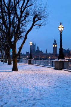Houses of Parliament and South Bank in Winter, London, England