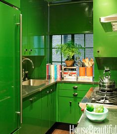 """This intense green kitchen by Miles Redd stopped me in my tracks and made me want to remake my whole kitchen,"" says Raina Kattelson, stylist and blogger at astylistslife.com. Kattelson would take one large cabinet or a freestanding piece and lacquer it this same green. ""I think this look could work in any space, from modern to more classically traditional,"" she says. ""It would make any room instantly come to life.""   - HouseBeautiful.com"