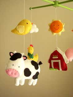 Baby crib mobile safari mobile animal mobile Barnyard  by Feltnjoy, $95.00