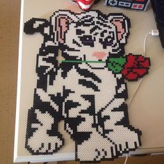 White tiger perler beads by maries_perlerart