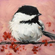 Did this in acrylics for my mil. Now I've just got to have one. Chickadee painting Original impressionistic oil by LaveryART: #OilPaintingOleo
