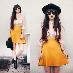 Rachel-Marie Iwanyszyn - Blouse, Sunglasses, Skirt - BE GOOD OR BE GONE. cool alice does day wear for summer quirky chic look big sunglasses , mustard yellow skater skirt and cute little vintage blouse all topped with a wide brimmed boater, bowler or fedora ..voila quirky geek chic alice style
