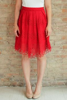 Hathaway Pleated Skirt - Red #affordable-midi-skirts #audrey-hepburn-style #red-skirt #pleated-skirt