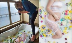 """""""Milk Bath"""" Photography Is Our New Favorite Baby Photography Trend Milk Bath Photos, Bath Pictures, Milk Bath Photography, Children Photography, Maternity Pictures, Pregnancy Photos, Maternity Photography Poses, Maternity Session, Shooting Photo"""