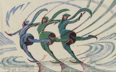 The Skaters by Cyril E. Power, (English, 1872-1951). Color linocut.  Museum of Fine Arts, Boston