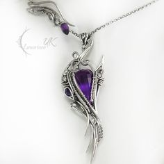 Necklace ARVINTIEEL by Lunarieen UK. Silver and amethyst.