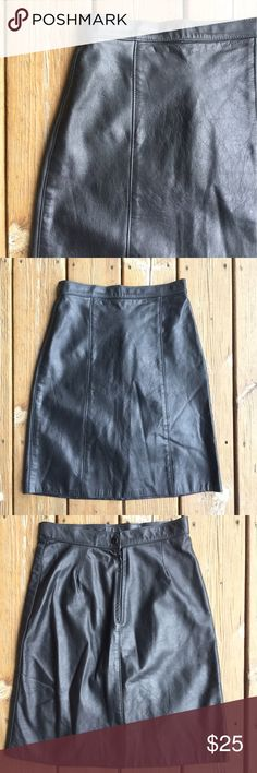 """COMINT Leather Skirt in Black Sz 9/10 Beautiful leather skirt. Fully lined. Back zipper with snap closure. Very nice! App meas - Waist: 13"""" from side to side;  Hips: 18"""" from side to side; Hem: 20"""" from side to side;  Length: 21""""; Content: 100% Leather; Sz: 9/10; 9C.1.19 Comint Skirts"""