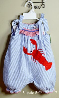 c3d5233e464 NWT Petit Ami Zu Lobster Ruffle Bubble Romper 12 18 24 Months Girls Boutique.  Girls BoutiqueBaby BoutiqueBaby AppliqueBubblesRompersJumpsuitsBlanket ...