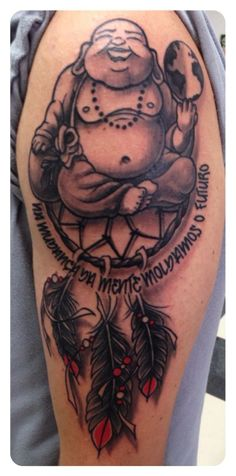 "a friend's tattoo - Buddah, World & Dreamcatcher - Quote: ""Changing mind, molding the future"""
