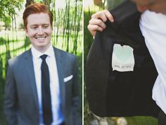 So cute...wedding date & a heart sewn into groom's suit jacket.