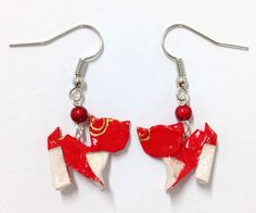 Origami, Drop Earrings, Etsy, Jewelry, Red Cat, Unique Jewelry, Locs, Jewellery Making, Jewerly