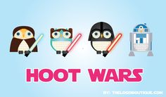 cute characters for hoot wars! the perfect match between your favorite owls and star wars by thelogoboutique.com