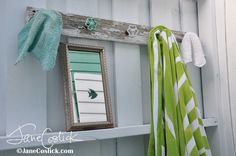 Jane Coslick Cottages: Greetings From The Outdoor Shower at 99 Steps 99 Steps, Beach Cottage Decor, Faucet Handles, Towel Hooks, Cozy Corner, Blue Hydrangea, Beach Cottages, Diy Tutorial, Repurposed